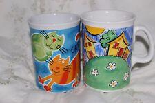 2 Mug Cup Tasse à café House Fence Meadow & Cats