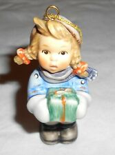 "Original Goebel Hummel Figurine "" Girl With Gift Ornament "" #2106 ~ Excellent"
