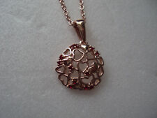 """silver pendant 1"""" Free stainless Dad-5431 Hearts red crystals Rg over sterling"""