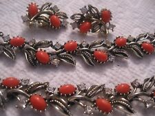 "Lisner 16"" coral cab rhinestone necklace 7"" bracelet 1"" clip earrings"