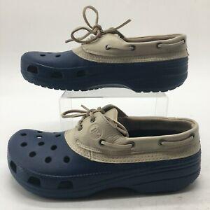 Crocs Mens 12 Pit Crew Sport Islander Lace Up Boat Shoes Blue Rubber Slip On