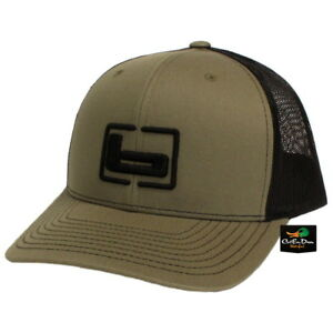 """NEW BANDED TRUCKER CAP MESH BACK HAT LODEN AND BLACK W/ """"b"""" LOGO"""