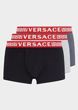 VERSACE 3-Pack Greca Signature Low-Rise Boxer Trunks Push up , Black/White/Grey
