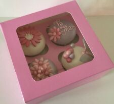 4 X CUPCAKE BOXES HOLDS 4 Cup Cakes with Clear Window MOTHERS DAY Sugarcraft