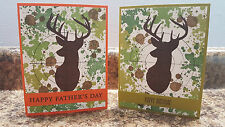 New listing 2 Handmade Stampin' Up! Deer Camo Masculine, Father's Day, Birthday Cards