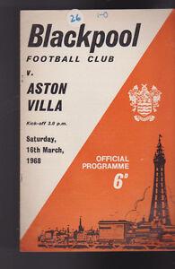 Aston Villa at Blackpool FC Soccer Program Football March 16 1968
