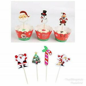Christmas Xmas Cupcake Wrappers Toppers Santa Snowman Party Kids Picks Cup Cake