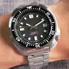 44mm Tandorio sterile black dial bracelet NH35 Automatic Steel diving mens Watch