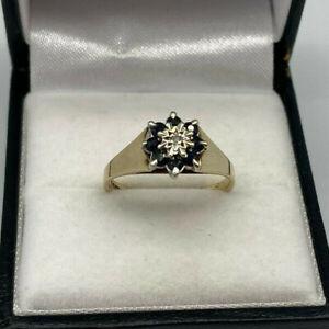 Vintage 9ct Gold Hallmarked Sapphire & Diamond Cluster Ring. Goldmine Jewellers.