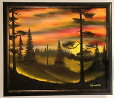 "FRAMED Oil Painting ""SUNSET SILHOUETTE #2"" on Canvas 25"" x 21"" (Art/Landscape)"