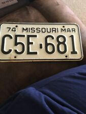 June 1974 Missouri License Plate  Tag # J4H 454  White with black letters