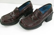 Kenneth Cole Reaction women Size 4.5 faux leather Loafer block heel Red Brown