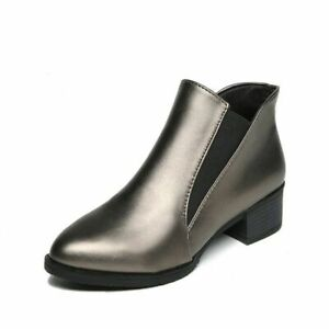 Women Boots Ankle Shoes S Size Booties Chunky Mid Slip On Low Heels Casual Block