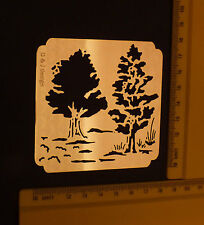 Brass/stencil/Oblong/Tree/Trees//Emboss/Embossing/Nice