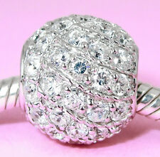 SOLID 925 S Silver Round Ball BEAD w 58 CZ For European Charm Bracelet /Necklace