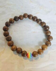 Rainbow Acrylic & Wood Bead Bracelet LGBT Gay Pride mens ladies UK