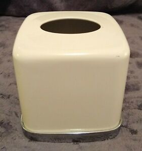 Tissue Box Cover Vintage MCM Square Heavy Hard Plastic LIGHT BEIGE Very Stable