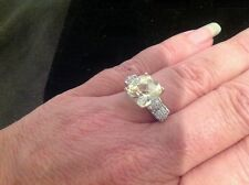 Yellow Stone Ring With Cz Bow Tie Style Size 9 By Blue Luster