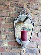 Wandkerzenhalter mit Spiegel Kerzenleuchter Frz. Landhausstil Metall Vintage