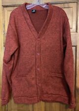 HABAND Mens Cardigan Grandpa Sweater LARGE Rust Long Sleeve Button Front