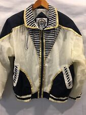 Womens Vintage 90's East West Windbreaker White/Navy/ Gold Trim Sz Small