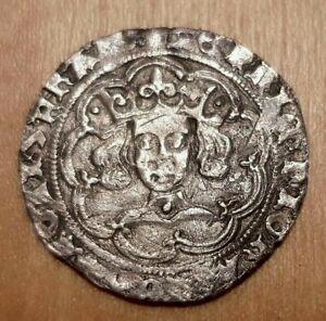British English Silver Hammered Groat King Henry VI Leaf Pellet S1917 1445-54