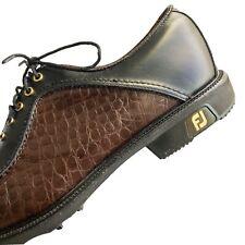 Footjoy FJ Icon 52161 Golf Shoes Black Leather Brown Croc Print Mens Sz 10 Snake