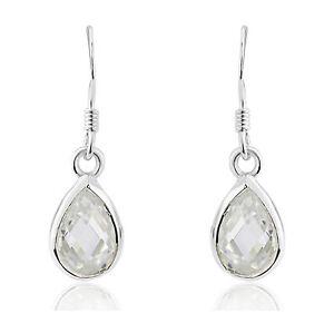 Ladies Cubic Zirconia CZ Teardrop Sterling Silver Earrings