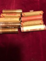 1977-P Pennies Rolls Uncirculated Red Coins 9 Rolls