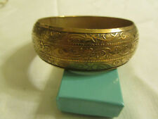 "Brass Tone Floral Bangle - 6.5cm diameter - 1"" wide"