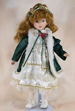 """Collector's Porcelain Girl Doll 16"""" Red Hair Blue Eyes"""