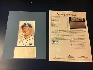 baseball hall of famer JIMMIE FOXX signed cut display (D. 1967)..FULL JSA LOA