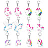 12pk Unicorn Keychains Rainbow Favor Supplies Key Ring Birthday Party Decoration