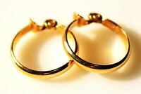 CLIP ON EARRINGS gold tone metal ring signature .. .. ""