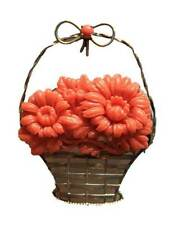 Vintage Sterling Silver Celluloid Coral Flower Basket Brooch