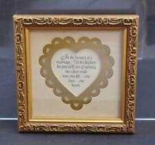 """Vintage Imagine Filigree Gold Toned Framed Poem God In Marriage About 6 1/4"""""""