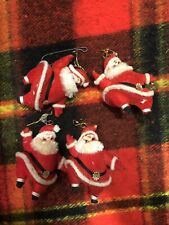 4 Vintage Santa Claus Flocked~Felt~Mache Christmas Hanging~Standing Ornament Lot