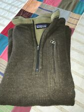 patagonia Mens L Pullover Army Green Wool Sweater