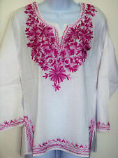 EMBROIDERED PINK MAGENTA WHITE COTTON TUNIC TOP KURTI FROM INDIA