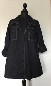 "MARINA RINALDI SPORT MR29/UK24 52""Ch. Black Cotton Shirt Top Roll Tab Sleeves"