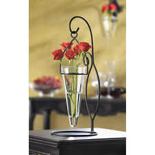 """Black Metal Tabletop Stand with Glass Hanging Pendant Vase 14.75"""" Tall #10038180"""