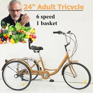 24-Zoll 3-Rad-Fahrrad Rikscha Dreirad Elder 6-Gang Tricycle mit Einkaufskorb DHL