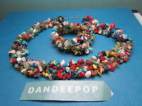 Multi Color Coral Bead Cluster Necklace And Bracelet Jewelry Set