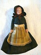 Vtg 1930s Handmade Pioneer Woman Doll, Jointed Arms, Black Dress, Lace, Ribbon