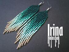 Emerald and Gold Native american beaded earrings Gradient fringe earrings Tribal