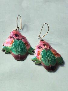 Estate Purple Pink & Green Enamel Floral Sterling SIlver Dangle Earrings for