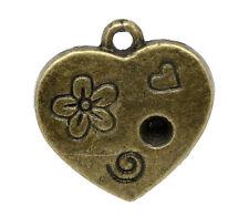 10 Pcs Antique Bronze Heart Charm Pendants 18x17mm LC1818