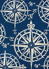 8x11 Nautical Compass Blue Indoor Outdoor Area Rug