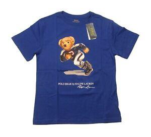 Polo Ralph Lauren Boys Blue Polo Bear Football Graphic Short Sleeve T-Shirt