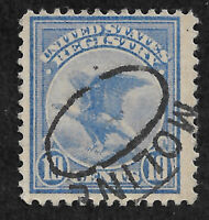 US F1 (1911) 10c Registration Stamp, ultramarine - Used - Moline Cancel - FVF